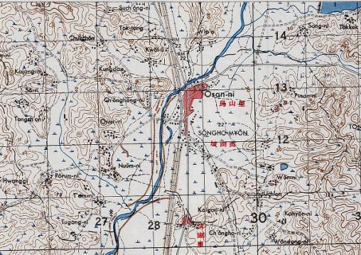 PART OF THE AMS TOPOGRAPHICAL MAP OF THE OSAN AREA