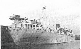 WW II view of stern of Norwegian freighter