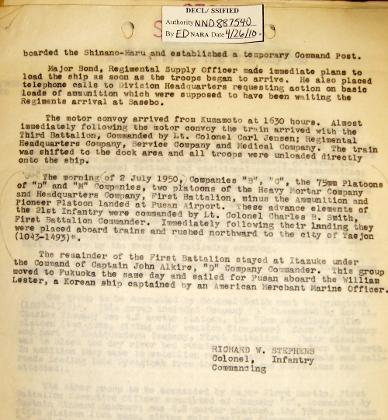 21ST INFANTRY REGIMENT WAR DIARY 2 JULY 1950 -PAGE 2