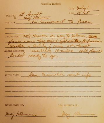 Telephone memo-3:25 PM on July 1, 1950