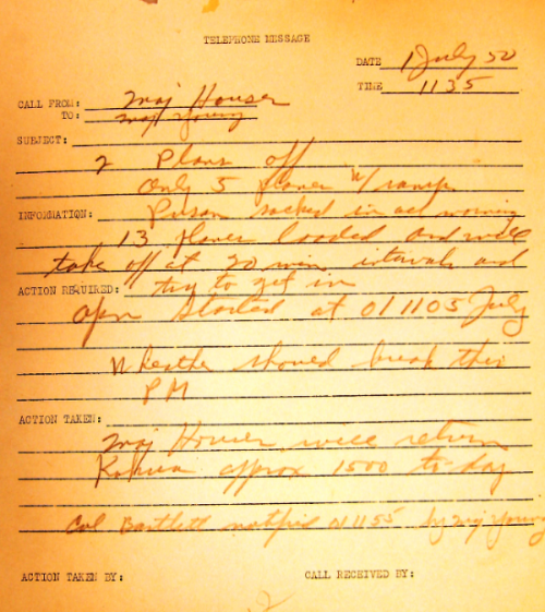 Memo of phone call, 11:35 AM July 1, 1950