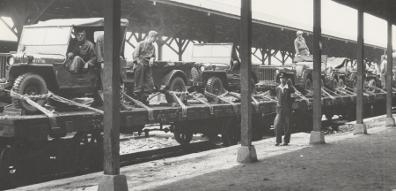 Part of Task Force Smith loaded on railroad cars at Pusan Railroad Station-July 2, 10950